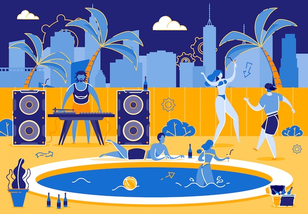 Fiesta divertida en los jóvenes de la piscina en el caluroso día de verano