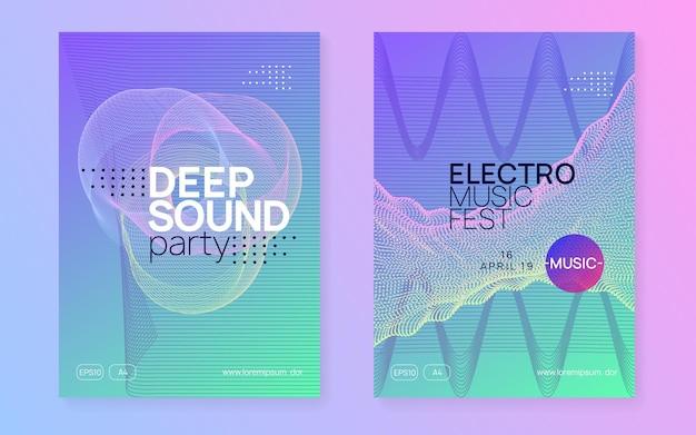 Fiesta de dj. conjunto de folletos de espectáculo de energía. forma y línea fluidas dinámicas. folleto de fiesta de neón dj. música electro dance. techno trance. evento de sonido electrónico. cartel del festival del club.