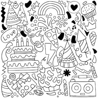 Fiesta doodle tarjeta de felicitación de feliz cumpleaños con elementos de dibujo