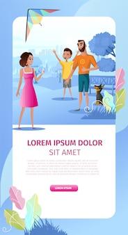 Fiesta familiar al aire libre vector de dibujos animados página de destino