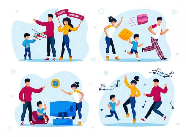 Fiesta familiar, entrenamiento de disciplina infantil