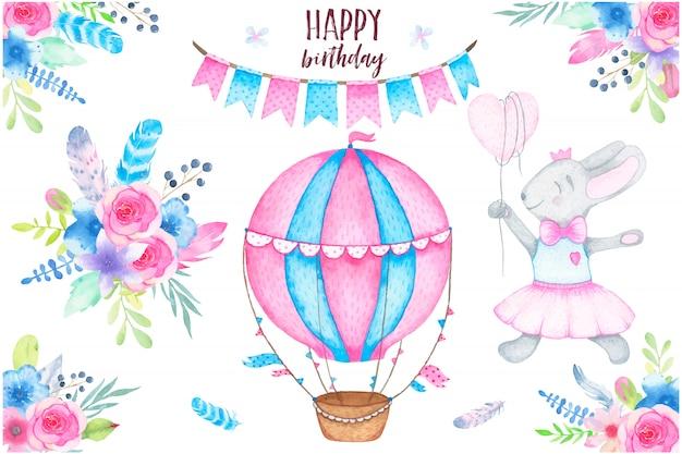 Fiesta de feliz cumpleaños de acuarela con conejito globo aerostático guirnalda y flores ramos de flores