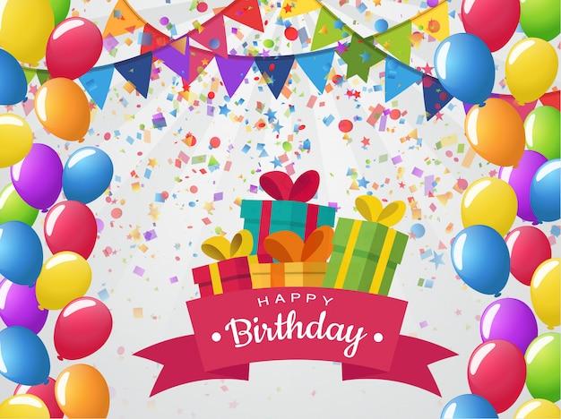 Fiesta y feliz cumpleaños con globos y coloridos regalos.
