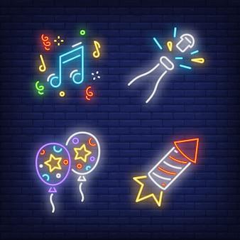 Fiesta festiva conjunto de letrero de neón. globos de aire