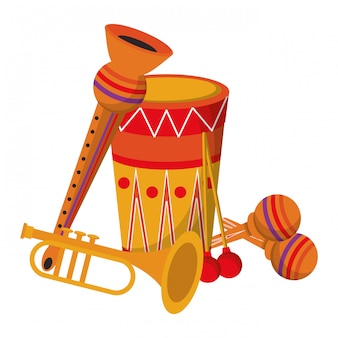 Fiesta festiva instrumentos musicales carnaval caricatura