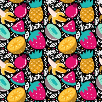 Fiesta de frutas tropicales doodle de patrones sin fisuras