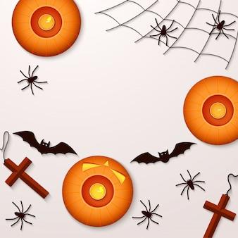 Fiesta de halloween con arañas calabazas y murciélagos