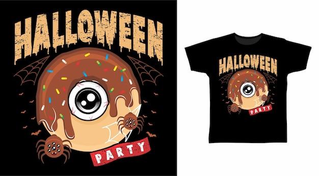 Fiesta de halloween de donut eye para diseño de camiseta