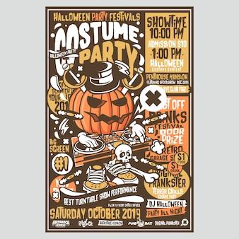 Fiesta de halloween festivales flyer
