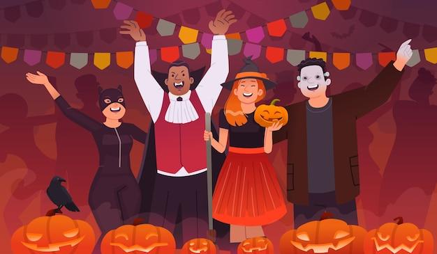 Fiesta de halloween. un grupo de jóvenes vestidos con trajes celebran la fiesta. hombres y mujeres felices bailando y divirtiéndose, banderas y calabazas. ilustración en estilo plano.