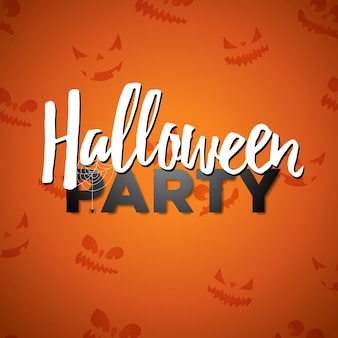 Fiesta de halloween ilustración vectorial con escritura de caligrafía sobre fondo naranja. diseño de vacaciones con la cara abstracta de miedo para la invitación del partido, tarjeta de felicitación, pancarta, póster.