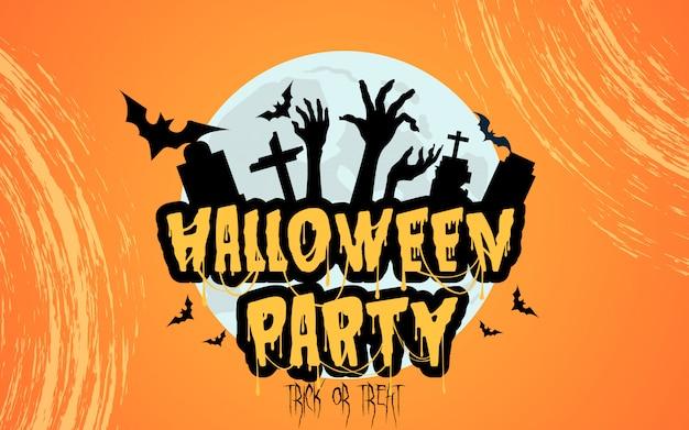 Fiesta de halloween con lápida fantasmagórica