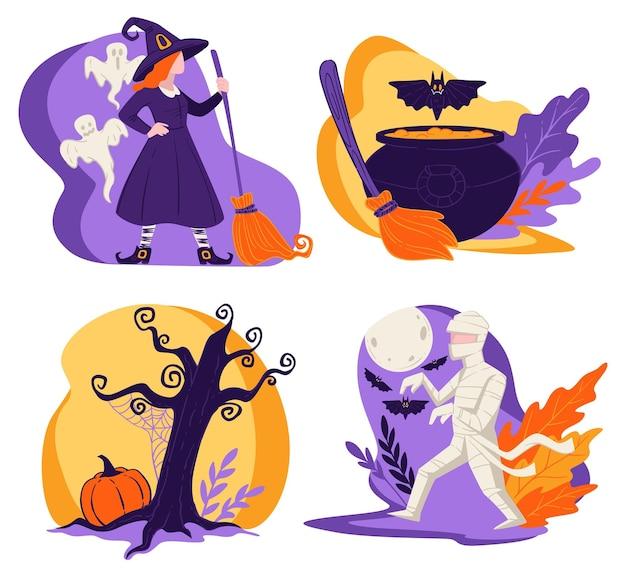 Fiesta de halloween en otoño, momia de personaje de bruja