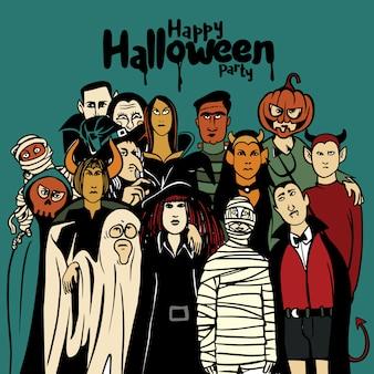 Fiesta de halloween con personas en diferentes disfraces de monstruos