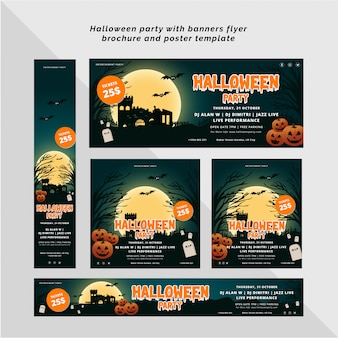 Fiesta de halloween con plantilla de pancarta, folleto y póster