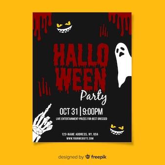 Fiesta de halloween con plantilla de póster de sangre
