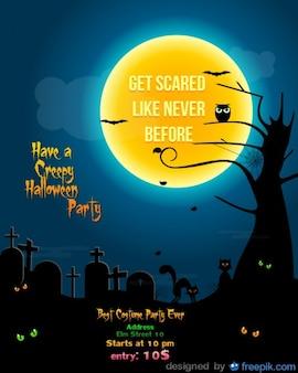 Fiesta de halloween plantilla de volante de cementerio