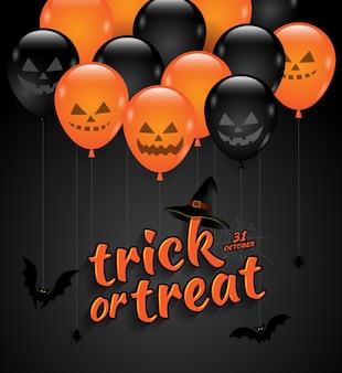 Fiesta de halloween, truco, o, tratar, globos