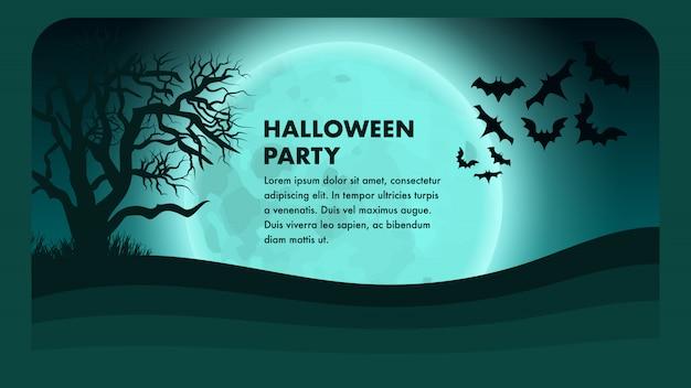 Fiesta de halloween vector banner. dibujos animados de miedo