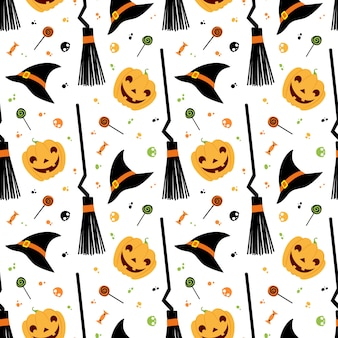 Fiesta de halloween vector de patrones sin fisuras. sombrero de bruja, escoba, dulces, calabaza