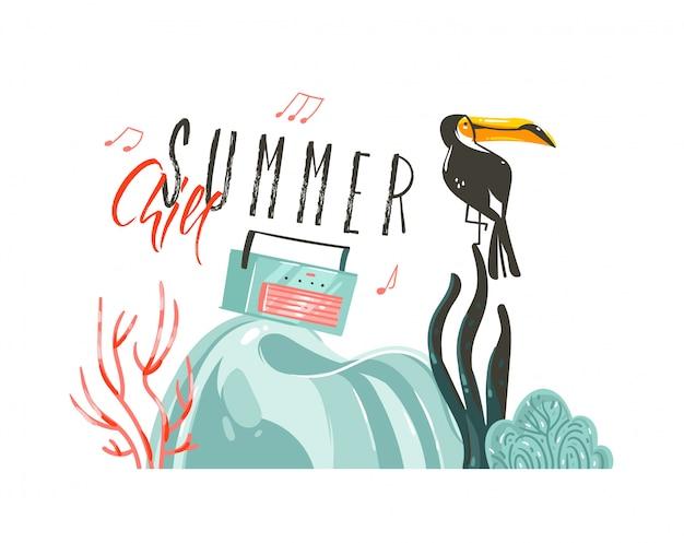 Fiesta de ilustraciones de horario de verano con pájaro tucán en escena de playa y tipografía moderna summer chill aislado sobre fondo blanco