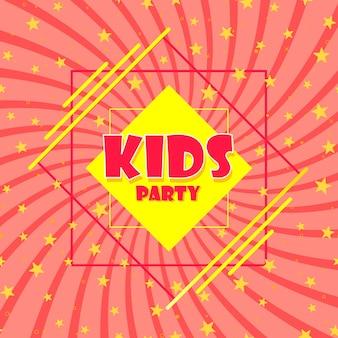 Fiesta infantil. signo de un cartel de arranque rosa. mega diseño. ilustración vectorial.