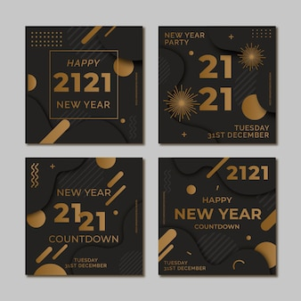 Fiesta de instagram post set año nuevo 2021