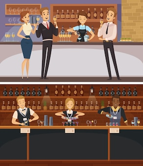 Fiesta en el interior de la barra de banners horizontales de dibujos animados con camareros e invitados con copas de vino