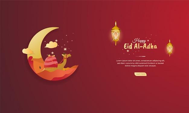 Fiesta islámica de eid al adha ilustración para el concepto de saludo de banner web