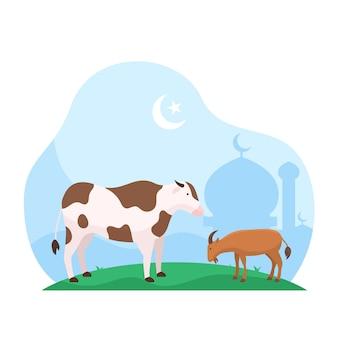Fiesta islámica de eid al adha, el sacrificio de ganado animal ilustración