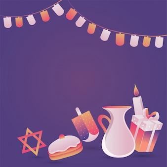 Fiesta judía de hanukkah con candel, dona y dreidel de madera