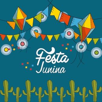 Fiesta junina con banderas fiesta y cadena bombillas con cometas