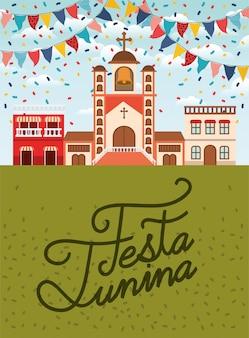 Fiesta junina con escena de pueblo y guirnaldas.