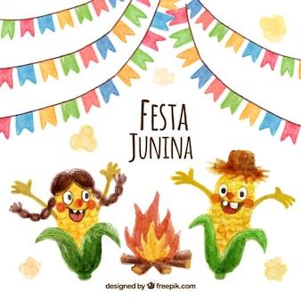 Fiesta junina de simpáticos personajes de maíz de acuarela con hoguera