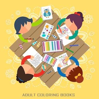 Fiesta de libros para colorear para adultos en diseño plano