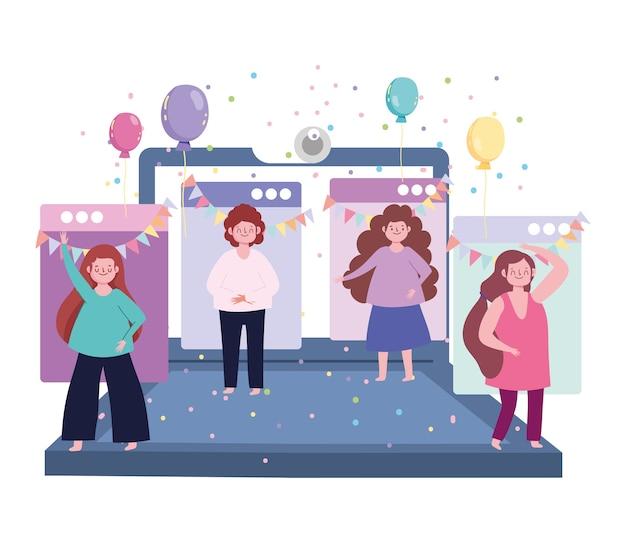 Fiesta en línea, computadora portátil con personas celebrando eventos decoración de confeti de globos