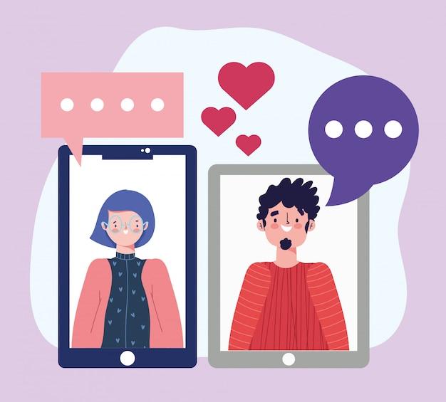 Fiesta en línea, cumpleaños o reunión de amigos, hombre y mujer, teléfono inteligente conectado, fecha romántica, ilustración