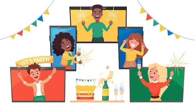 Fiesta en línea con gente feliz en videoconferencia celebrando la fiesta de cumpleaños, ilustración de dibujos animados plana