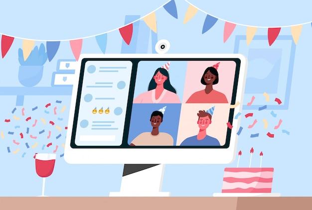 Fiesta en línea en internet, cumpleaños, reunión de amigos. celebración de cumpleaños en modo cuarentena.