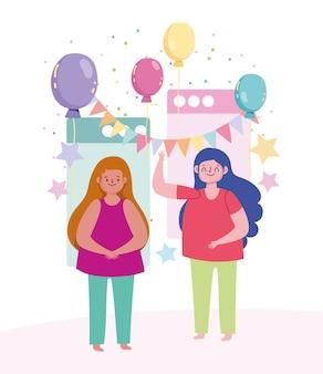 Fiesta en línea, mujeres jóvenes feliz celebración cumpleaños globos y banderines decoración