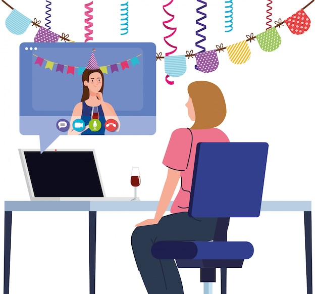 Fiesta en línea, las mujeres tienen una fiesta en línea juntas en cuarentena, videoconferencia, fiesta, fiesta en línea con cámara web