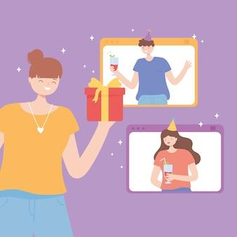 Fiesta en línea, niña feliz con regalo y gente celebrando conectados por ilustración de vector de teléfono inteligente