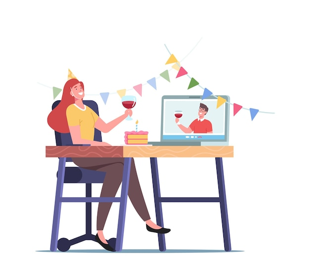 Fiesta en línea, personaje femenino joven sostiene una copa con vino tinto para celebrar las vacaciones y comunicarse con un amigo desde casa
