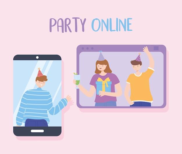 Fiesta en línea, personas conectadas por internet celebrando la ilustración vectorial