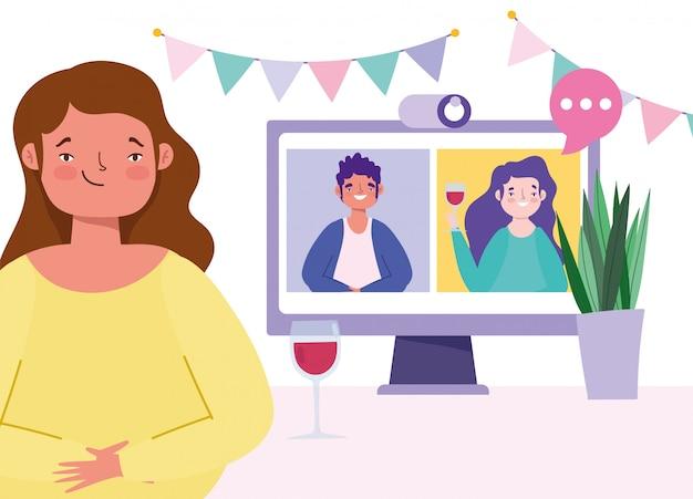 Fiesta en línea, reunión de amigos, personas beben vino juntas en la cámara web conectada en cuarentena