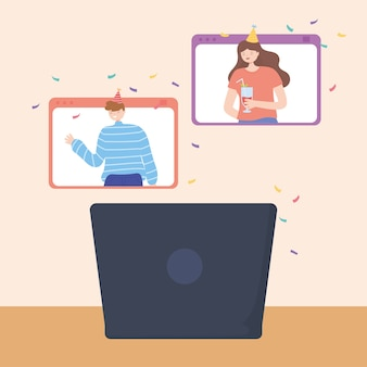 Fiesta en línea, reunión de video del sitio web de personas e ilustración vectorial de computadora portátil