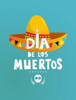 Fiesta mexicana dia de los muertos diseño de cartel o invitación con símbolos con letras a mano