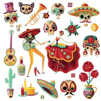 Fiesta mexicana del día de los muertos establece música étnica y danza máscaras decorativas velas flores