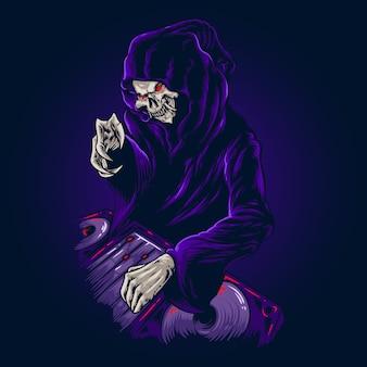 Fiesta de la muerte halloween ilustración