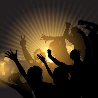 Fiesta multitud en un fondo de starburst